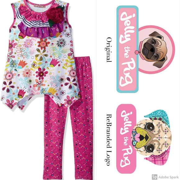 Jelly The Pug Other - Jelly The Pug Legging Set Tulip Floral Knit Top 2T